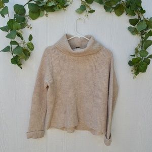 Free People Cream Knit Turtleneck wool Sweater